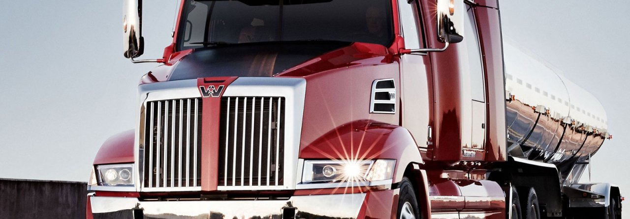 Western Star heavy haul truck, red